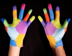 Multi-colored gloves designed for gesture-based computing