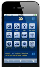 Screenshot of m.nd.edu on the iPhone